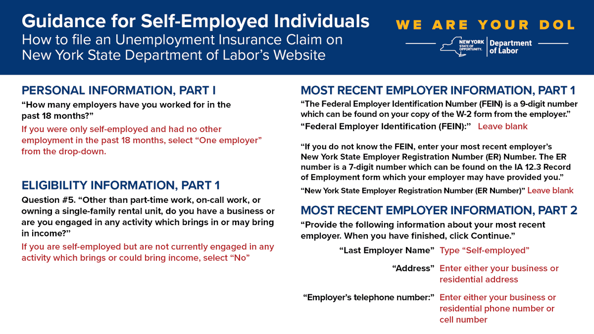 Nys Department Of Labor On Twitter Icymi If You Are Self Employed You May Now File For Unemployment Insurance Benefits Online See Guidance On How To File A Ui Claim On The Nyslabor