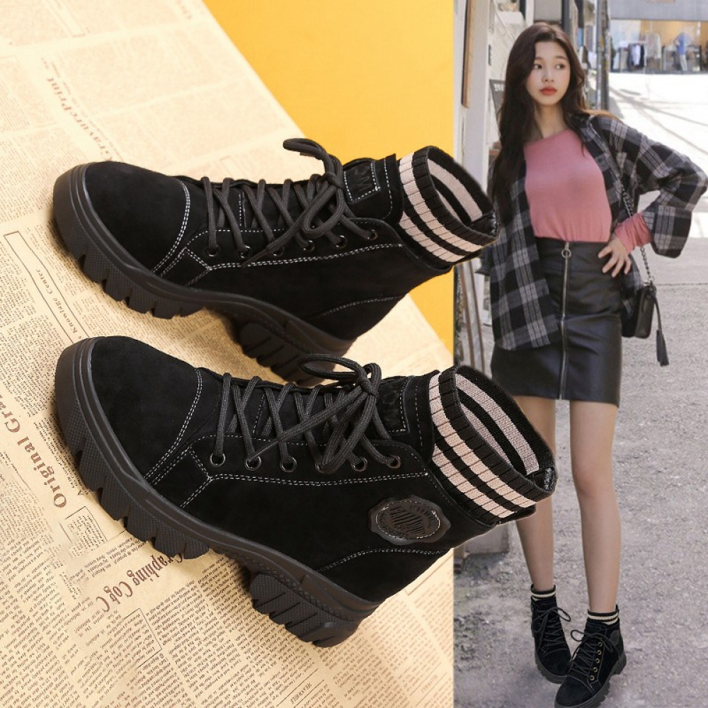 #bag #chanel #clothes #siambrandname #followme #luxury #sbn #happy #follow #fashionblogger #summer #instadaily Autumn Casual Lace-Up Women Height Increasing Ankle Boots Platfrom Short Boots Round Toe Ankle Sock Shoes Outdoor Martin Boots