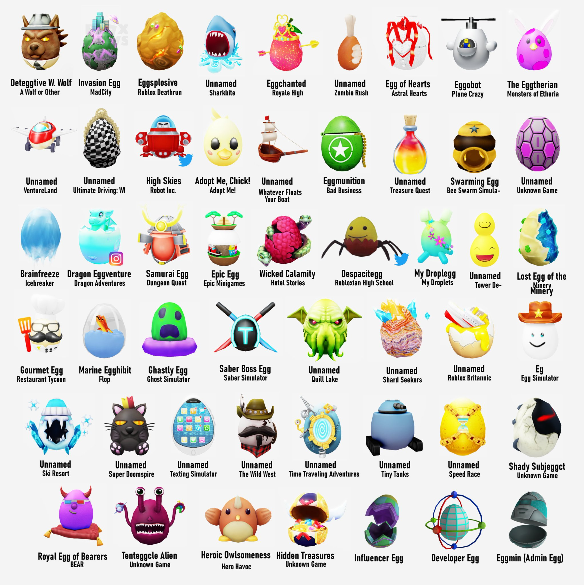Bloxy News On Twitter Hello Agents I M Back With More Leaked Eggs For The Roblox Egghunt2020 Agents Of Egg This Time However There Are 50 Eggs Along With Their Corresponding Games