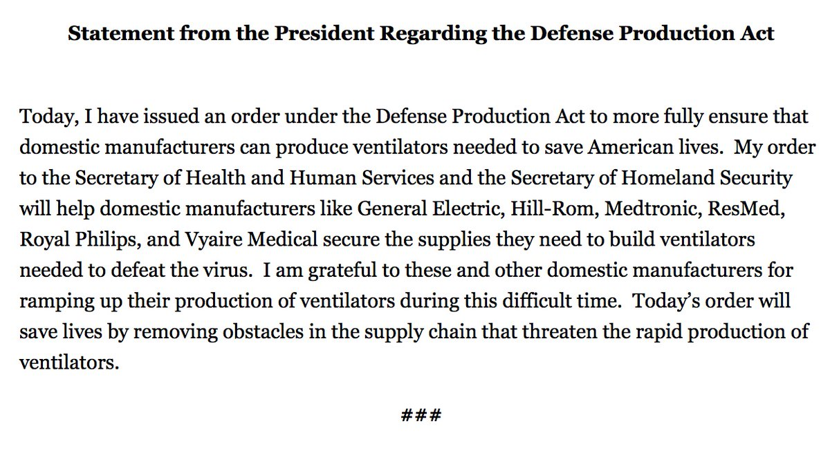 I applaud President Trump for giving @SecAzar the authority to use the DPA to address the ventilator shortage. As I wrote to Sec. Azar last month, time is running out. We must leverage the incredible might of our free enterprise system now to save more lives moving forward.