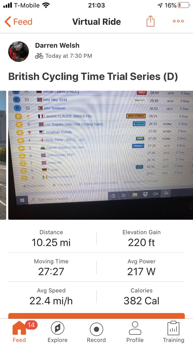 Tough one this evening but happy with that result. #britishcycling #cycling #cycling #cyclinglife #lovecycling #zwift #timetrial #TT #cyclinglifestyle #cyclingfitnesspic.twitter.com/VhsFKU4U07