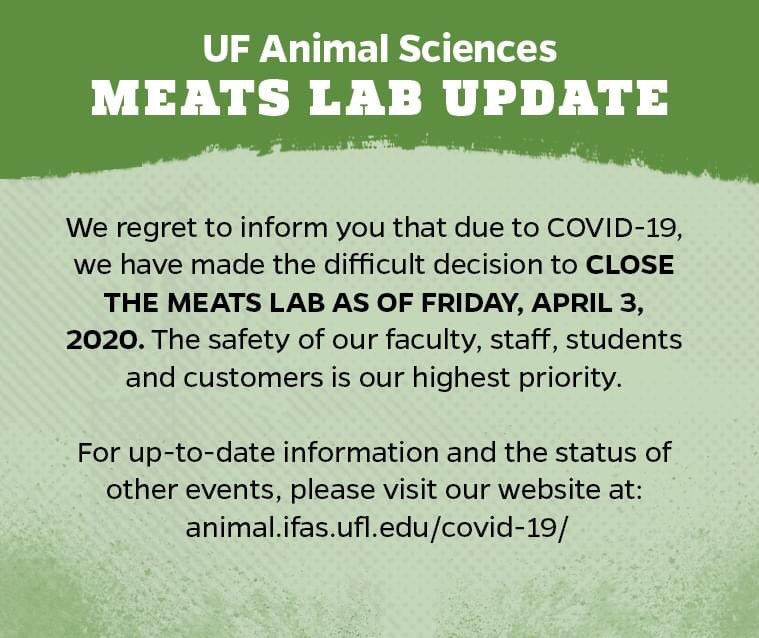 The Meats Lab will not be open tomorrow due to COVID-19. We will miss our customers! Stay healthy!