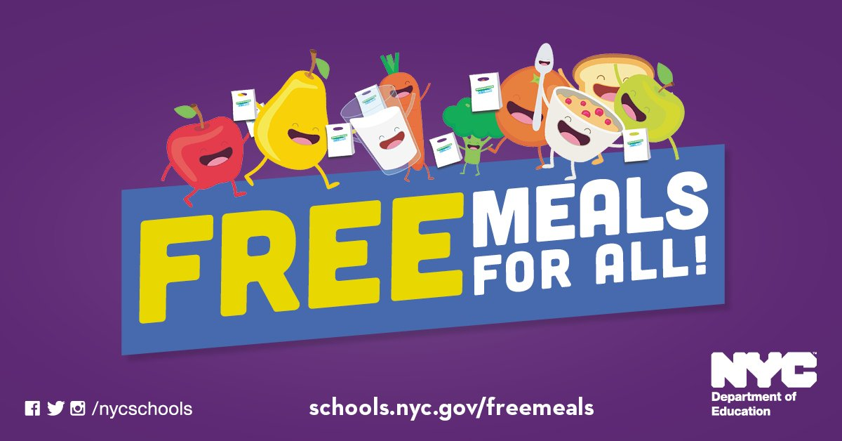 Text reads: Free Meals for All. schools.nyc.gov/freemeals. NYC Department of Education.