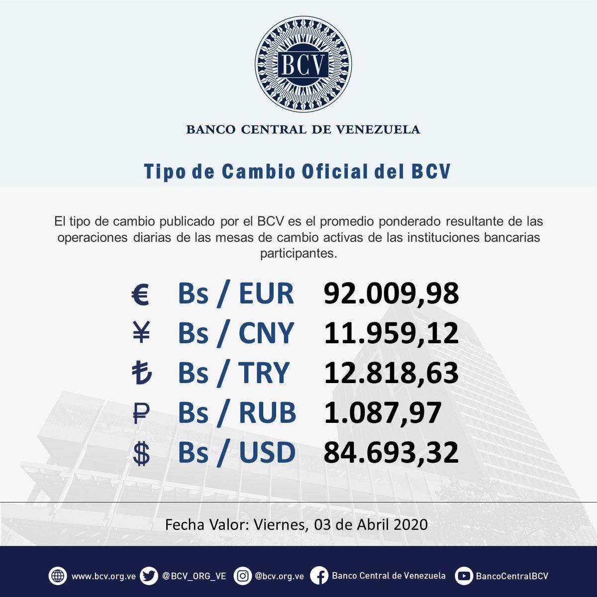 Atención|| El tipo de cambio publicado por el BCV es el promedio ponderado de las operaciones de las mesas de cambio de las instituciones bancarias. Al cierre de la jornada del jueves 02-04-2020, los resultados son:  #MercadoCambiario #BCVpic.twitter.com/fMbF0EQ8Ue