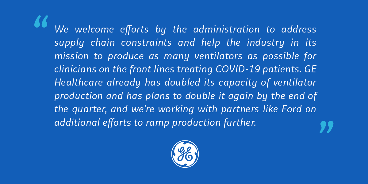 Our statement on the Defense Production Act for ventilator manufacturing: