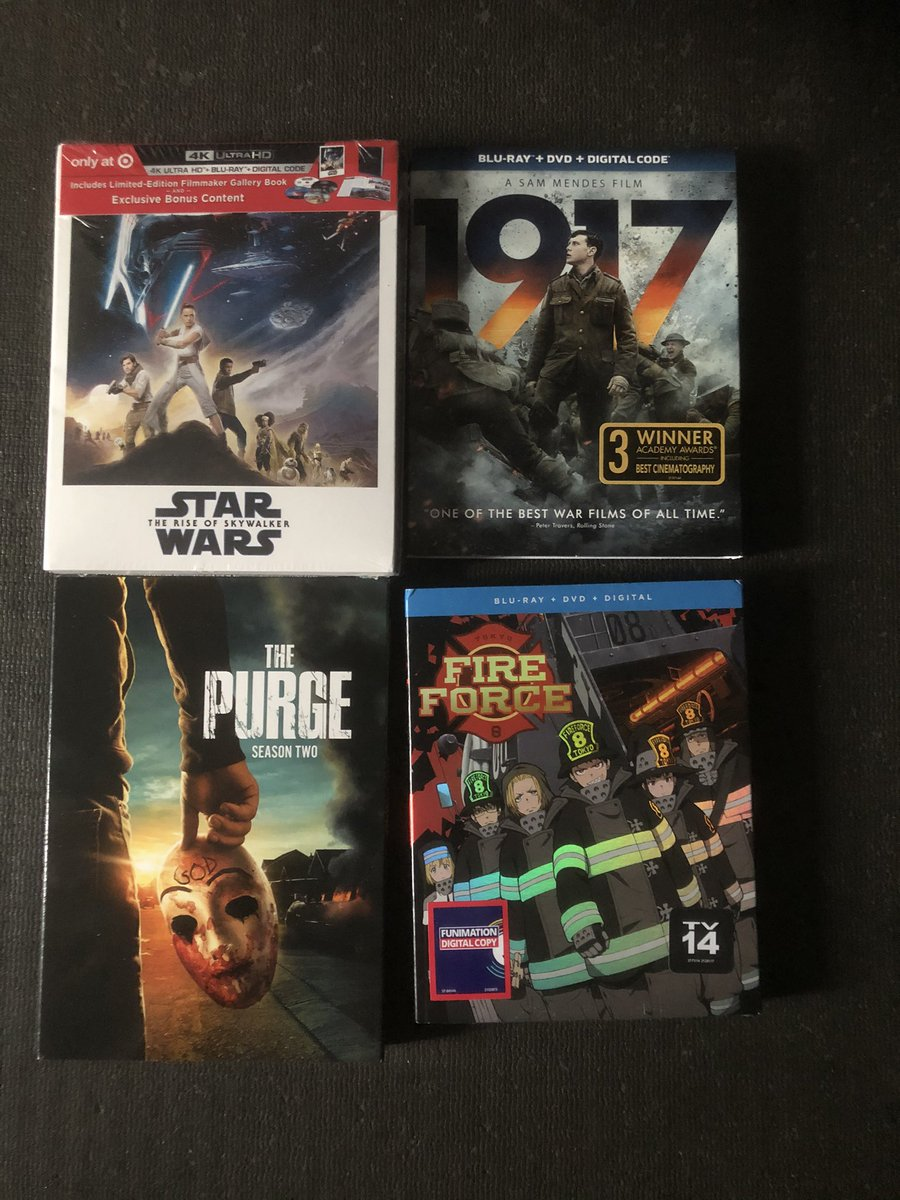 New #bluray to add to the #collection The #target #limitededition of #starwarstheriseofskywalker the #worldwar #movie #1917 #blumhouse #thepurge and #anime #fireforce #movies #starwars #horror #bluraycollection #dvd #dvdcollection pic.twitter.com/4HA9jRTbY5