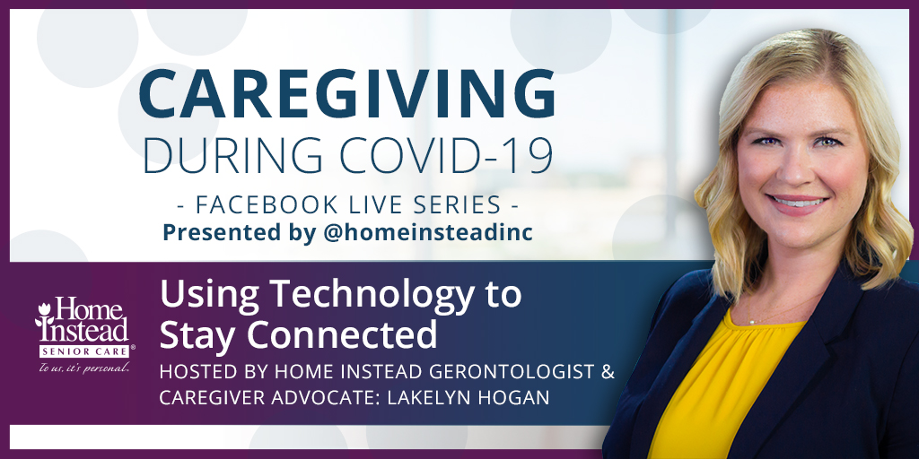 Tomorrow at 2:00 pm CDT on #FacebookLive, get tips to help #aging loved ones & #caregivers use tech to stay connected while being physically separated w/ #HomeInstead gerontologists. Watch 4/6 at 2pm CDT: