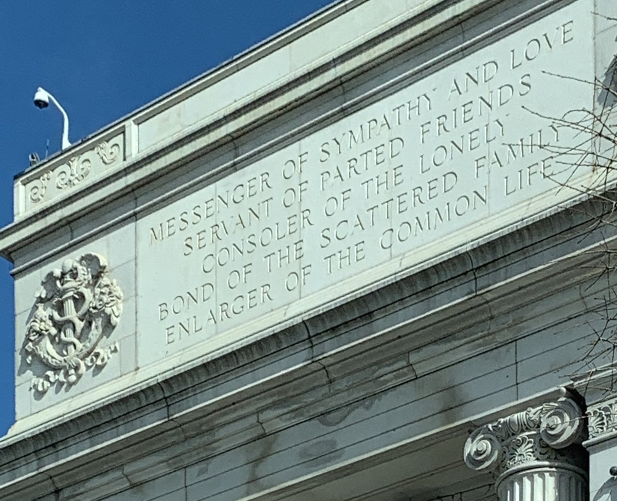 """Months ago I took this picture of the inscription on the National Postal Museum. It just seemed like a nice sentiment at the time. """"Messenger of sympathy and love. Servant of parted friends. Consoler of the lonely. Bond of the scattered family. Enlarger of the common life."""" 💌 https://t.co/9pTgtNMDgE"""
