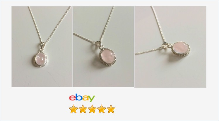 Brand New 925 Sterling Silver Rope Edge 14 x 11mm Rose Quartz Pendant Necklace | eBay #sterlingsilver #ropeedge #rose #rosequartz #necklace #pendant #handmade #jewellery #gemstones #gemstonejewelry #gifts #giftideas #giftsforher #pretty #accessories
