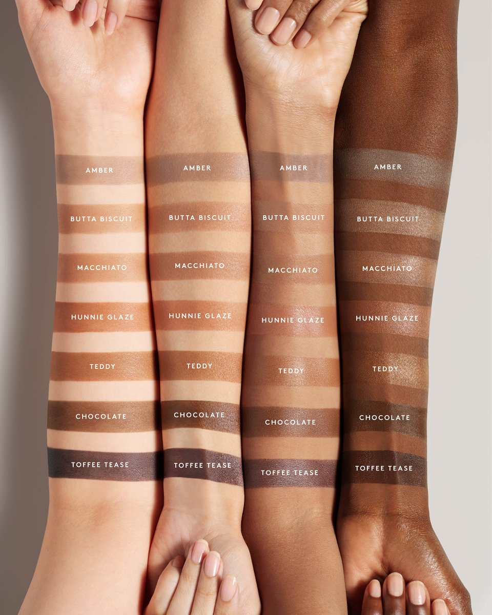 "FENTY BEAUTY on Twitter: ""🤍Amber -- fair skin tones  🤍Butta Biscuit --  fair-light skin tones  🤎Macchiato -- light-medium skin tone  🤎Hunnie  Glaze -- medium-tan skin tones 🤎Teddy -- tan"