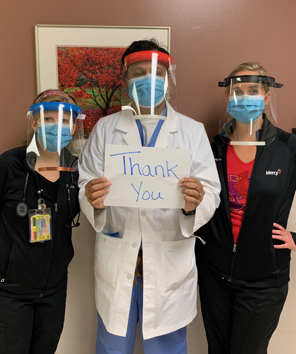 Medical staff with Mercy sent this grateful photo after receiving about 100 face shields produced by the Inventor Forge MakerSpace in the EDC. Now the tech group's 3D printers are busy making units for BJC Healthcare in metro St. Louis. #FightCOVID19<br>http://pic.twitter.com/d7AbpsqWdc