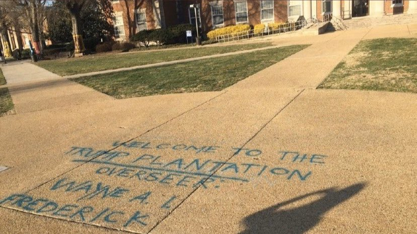 """""""Welcome to the Trump Plantation.    Overseer: Wayne A.I. Frederick""""  -Howard University, date unknown."""