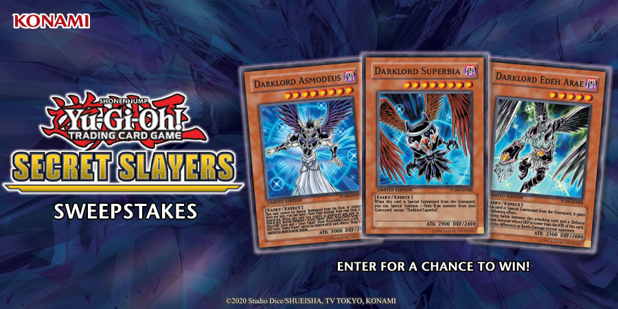 """Choose your favorite card from Secret Slayers and enter our sweepstakes to win a set of Super Rare YCS """"Darklord"""" Prize Cards!  Sweepstakes ends 4/12, view rules here: http://bit.ly/secretslayers-card-sweepstakes…  #YuGiOh #SecretSlayers"""