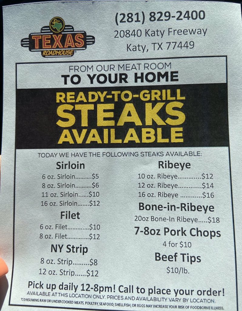 If you love Texas Roadhouse and you need some great steaks to cook at home check out this flyer!