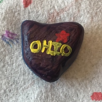 My 5 year old found this neat rock today and felt it looked like our state and wanted to paint it ☺️☺️ We are proud to be buckeyes and appreciate everything the Ohio government is doing to keep us safe! @GovMikeDeWine @DrAmyActon  Thank you!