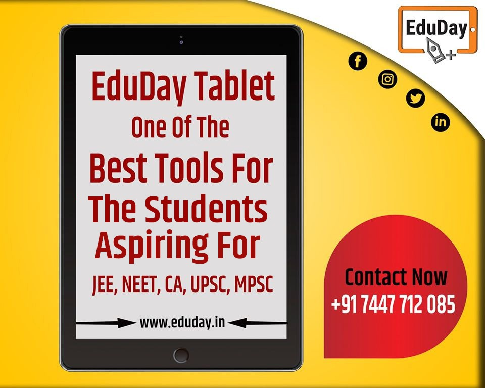 EduDay Educational Tablets especially designed for competitive exams such as JEE, NEET, UPSC, CA.etc  For more information please feel free to contact on: - Ph : +91 7447712085 E-Mail: product@eduday.in http://www.eduday.in  #eduday #edudayindia #pune #india #tab #tabletspic.twitter.com/tK0UFdeVTT