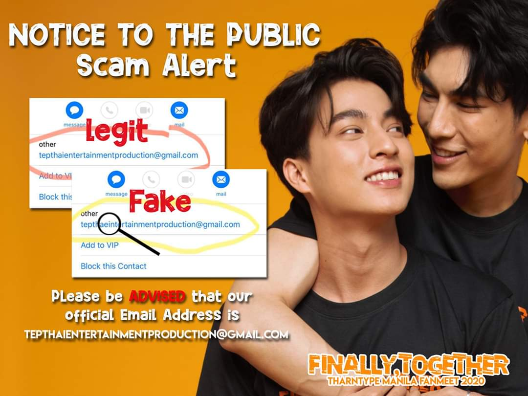 [NOTICE TO THE PUBLIC] SCAM ALERT FOR  #TharnType In Manila Fanmeeting PLEASE READ THIS THREAD CAREFULLY. TEP is continuously receiving concerns regarding a scam with TharnType in Manila Ticket transfer.