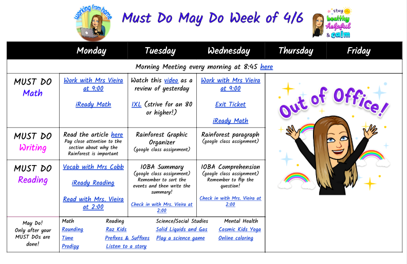 """After getting feedback from my students and parents and some advice from @cmonteiro8172 I decided to stop trying to """"re-create"""" my classroom schedule and do what is best for students, families, and myself! #distancelearning #workinprogress pic.twitter.com/DnsCb6tiLU"""