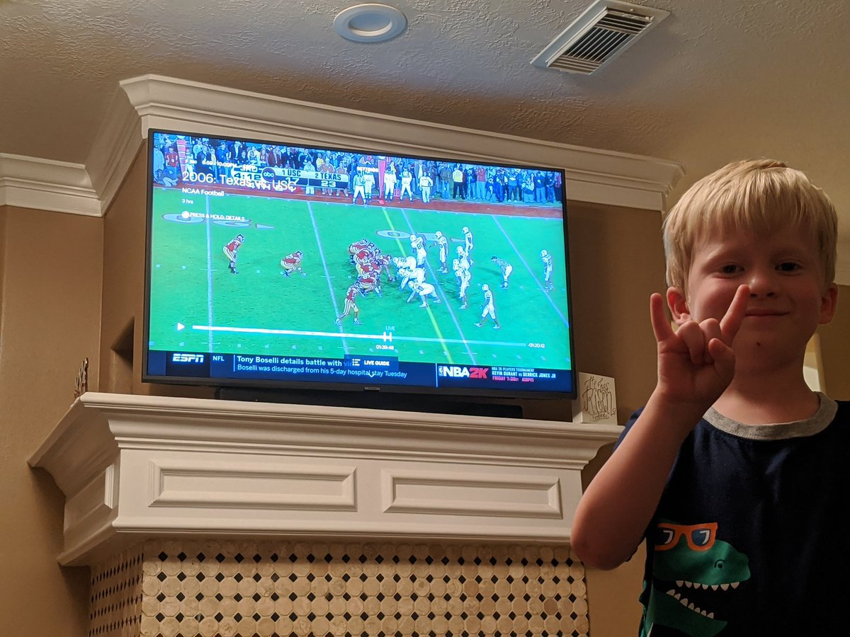 Little man getting a lesson tonight in Vince Young & National Championships!