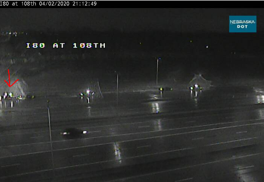 Image posted in Tweet made by Omaha Hwy Conditions on April 3, 2020, 2:20 am UTC
