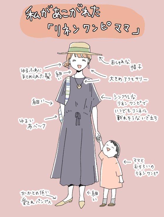 リネンのワンピースを着ているリンネル系ママに憧れまくるんですが、何故か上手くいかないので理想と現実を比べてました。無念。(リネンだけに)