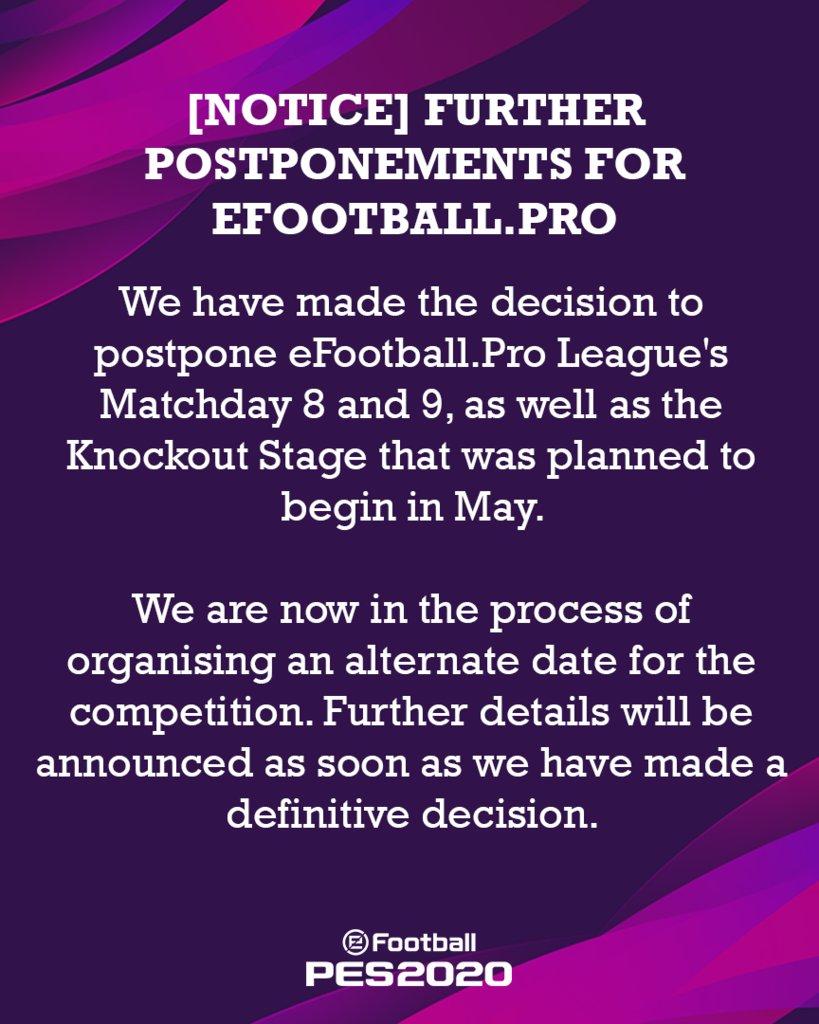 [NOTICE] Further Postponements for http://eFootball.Pro  More info: http://efootballpro.konami.net/