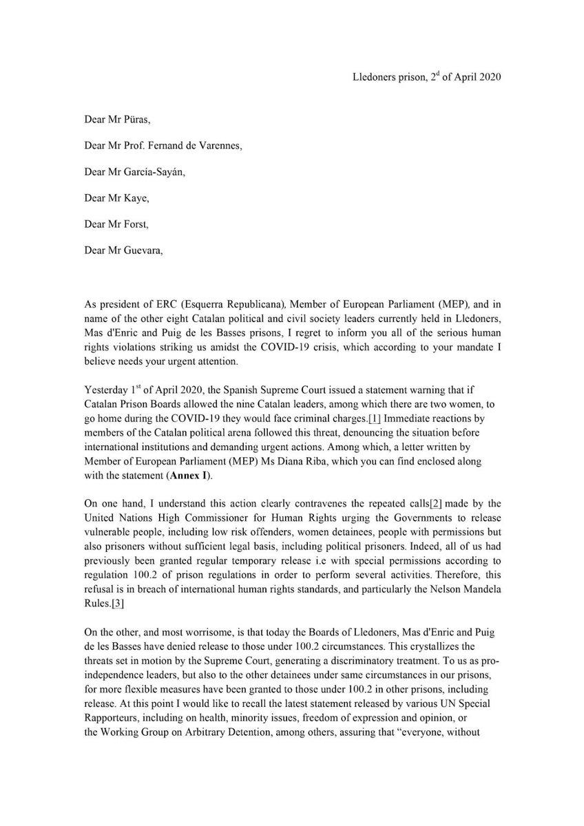 Les amenaces del Tribunal Suprem han perjudicat els drets de tots els presos i posa en risc la lluita contra el Coronavirus. És per això que he demanat una empara urgent a @UN i al Consell d'Europa perquè prenguin les mesures a les recomanacions que ells mateixos han fet. https://t.co/kviZ0bL1ie