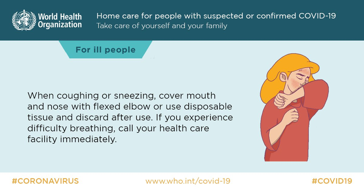 """World Health Organization (WHO) on Twitter: """"When coughing or sneezing, all  members of a household with people with suspected or confirmed #COVID19  should cover mouth and nose with flexed elbow or use"""