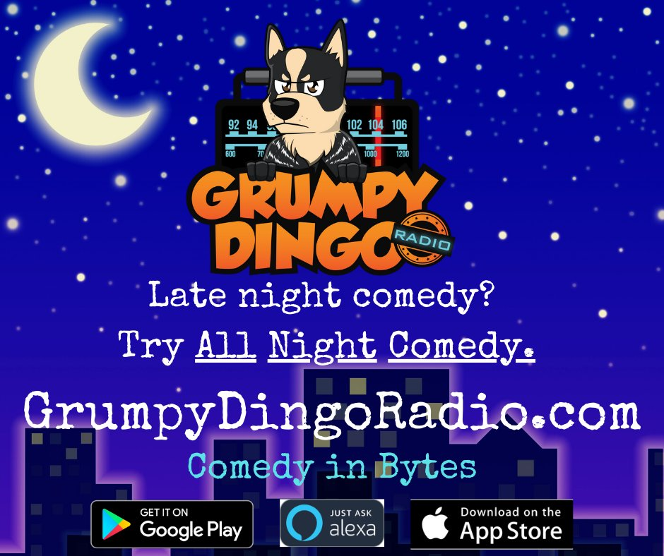 Comedy never sleeps.  Stream Grumpy Dingo Radio's 'Comedy in Bytes' directly from our website, download our FREE app or use any Alexa enabled device.  Here's our live studio -  https://buff.ly/2RADyBp pic.twitter.com/t8G4gesFKa