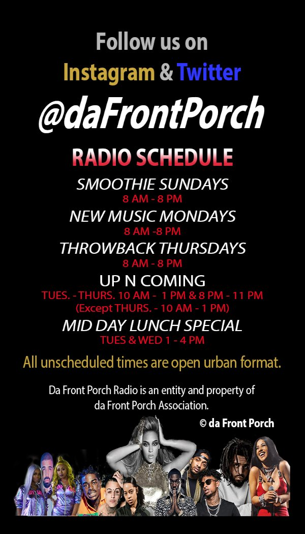 Every Monday is New Music Mondays on Da Front Porch Radio http://www.DaFrontPorch.biz  Download the free app. No Ads. No Email Sign Up. Just press play. pic.twitter.com/E3hXVadbjy