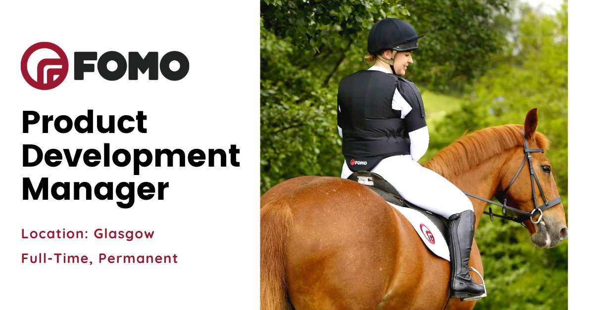 As a past winner of Scottish EDGE, FOMO is now looking for a tenacious & resilient #Product #Development #Manager to join them in #Glasgow.   Apply now - https://bit.ly/39qA4WZ   #Jobs #jobfairy #horselover #productmanagement #manufacturing #productdesign #ideaspic.twitter.com/jrJevyAX5X