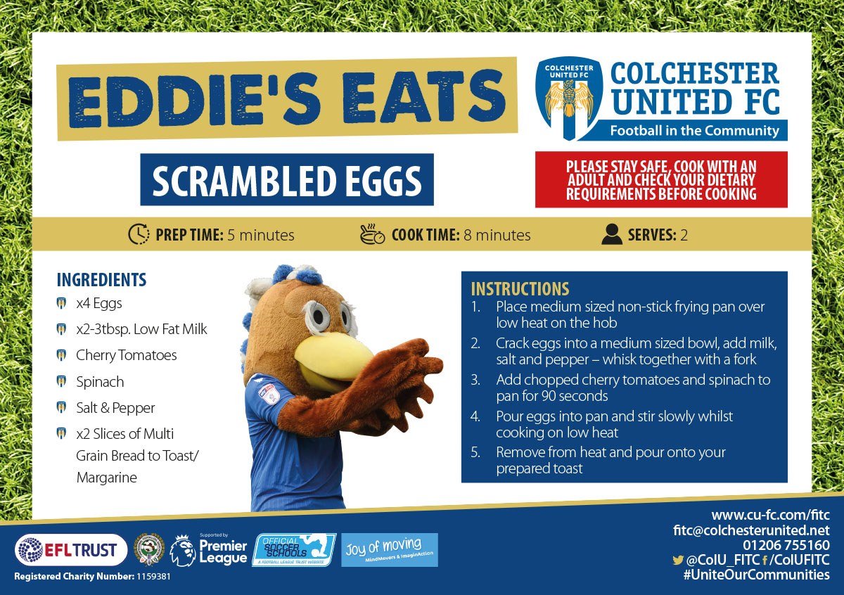Eddies Eats   Join #ColU Mascot @EddieEagle1 in making his healthy recipe! Eddie would love to see your attempt - please share tagging #JoyOfMoving Look out for more @JoyofMovingUK recipes next week 🔵⚪️ 👉kinderjoyofmoving.com #UniteOurCommunities @EFLTrust @ColU_Official