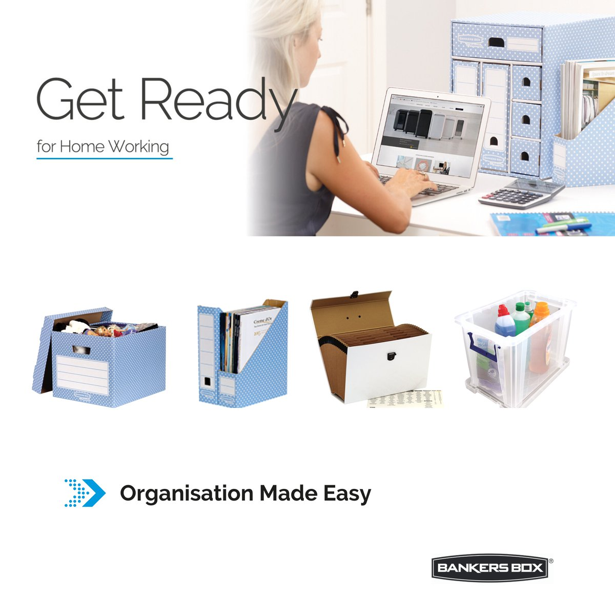 Keep your #homeoffice organised with BANKERS BOX® smart and stylish products to improve productivity and minimise stress. 📦 Storage Boxes 📦 Desktop Storage  📦 Handifile Organisers  📦 Pro Store™ Plastic Storage   Shop Now ➡️ https://t.co/EjO7pdBw9t https://t.co/0dCYwV73Tq