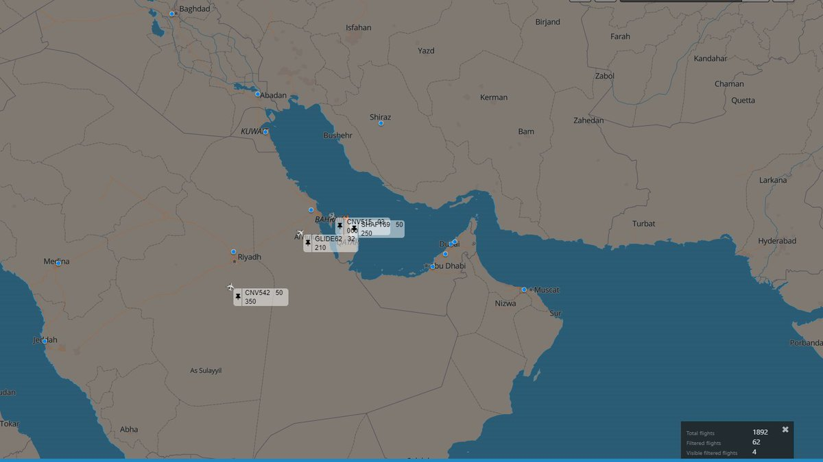 CNV515 UC-12M Huron CNV542 C-40A Clipper GLIDE62 C-130H Hercules SHAFT69 (Heh...) C-21A  All over the #MiddleEast right now pic.twitter.com/oM7Cnp7q3e