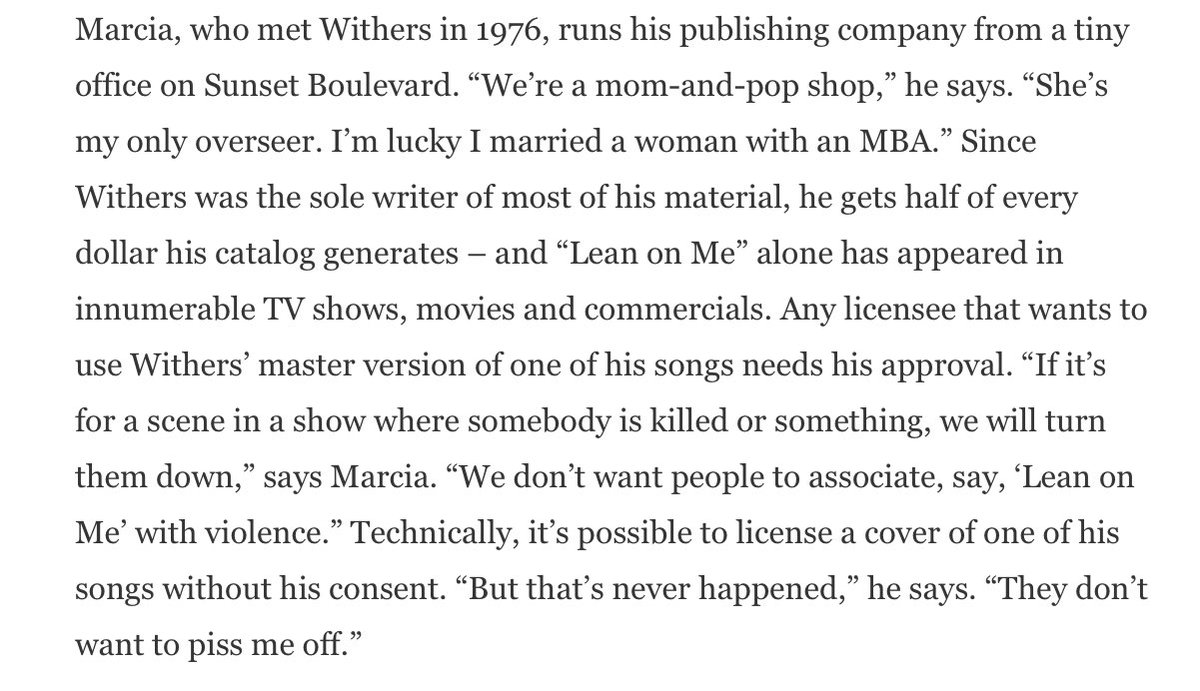 The second is the fact that Withers owned his music, which meant he and his family — and not the labels — profitted from his work.