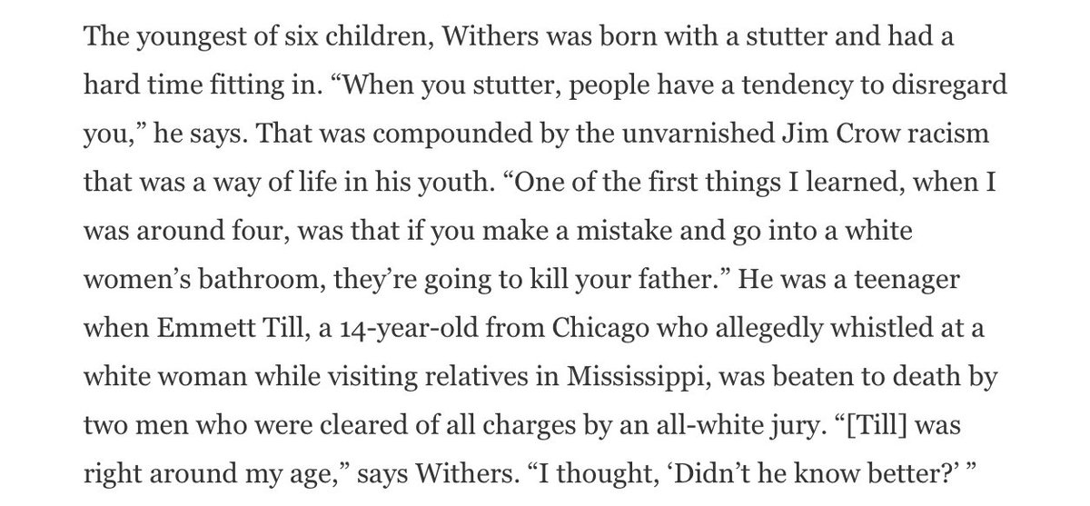 Two things stick out to me, first, this recollection from his childhood. Given this was written only five years ago, it's a reminder of how *recent* Jim Crow and its violence is.