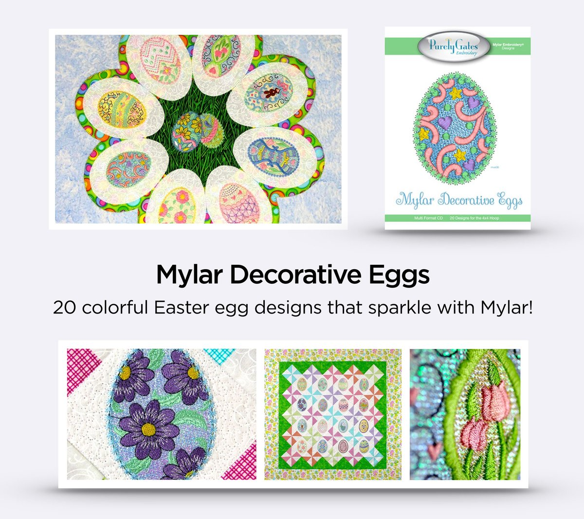 Machine Embroidery Designs On Cd Or Usb Easter Flourishes Collection Crafts Design Cards Cds