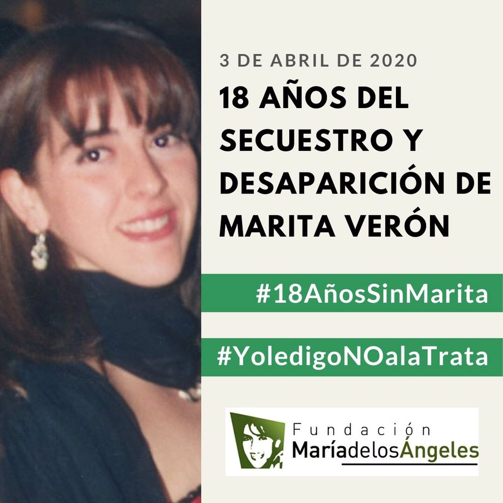Seguimos acompañando y difundiendo el trabajo de @SusanaTrimarco en el día donde se cumplen 18 años de la desaparición de su hija #MaritaVerón  #YoLeDigoNoALaTrata https://t.co/yulQPZcMHi