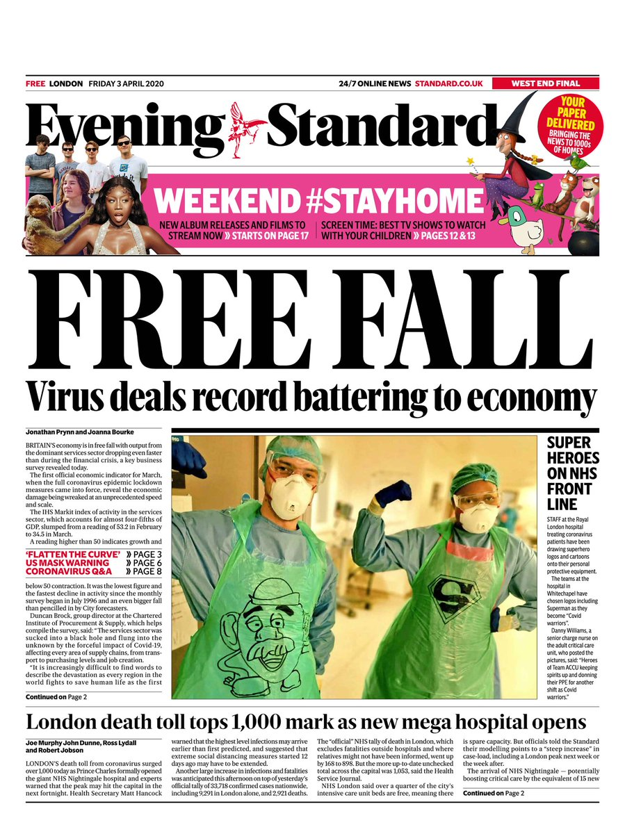 Today's @EveningStandard as latest survey shows record fall in services economic activity + death toll in London passes 1000 & a look inside the Nightingale