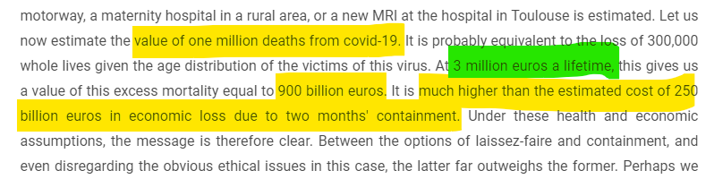 They say we economists do not value life and only care about money... that is not true! We value life. It is worth about €3 million. https://www.tse-fr.eu/economics-coronavirus-some-insights… … #economics #health #qaly #coronavirus