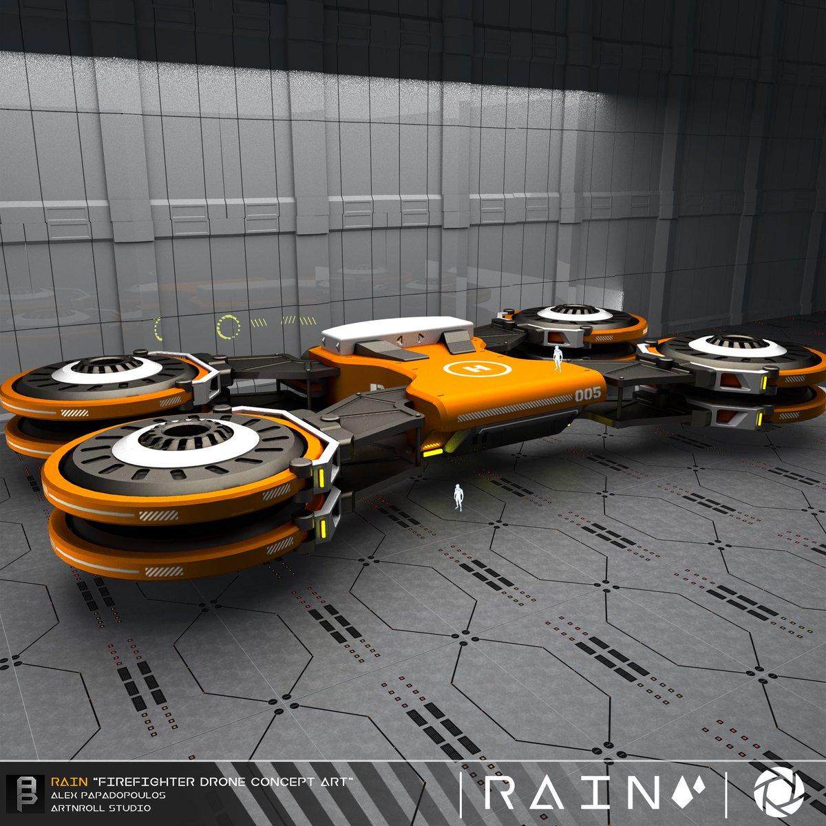 """Rain"" Firefighter Drone Concept. #conceptart #mechanical #hardsurface #space #drone #firefighter #concept #design #future #scifi #modern #visual #engineering #digital #art #3D #moi3D #3dsmax #3dart #3dmodelling #kitbash #zbrush #hardsurfacemodeling #keyshotpic.twitter.com/zUCWGTLdLR"