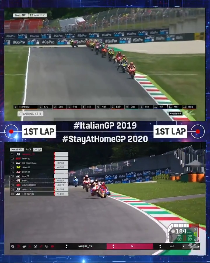 #StayAtHomeGP 🏡 or #ItalianGP 🇮🇹 Looking back at two action packed first laps! 🙌 #MotoGP