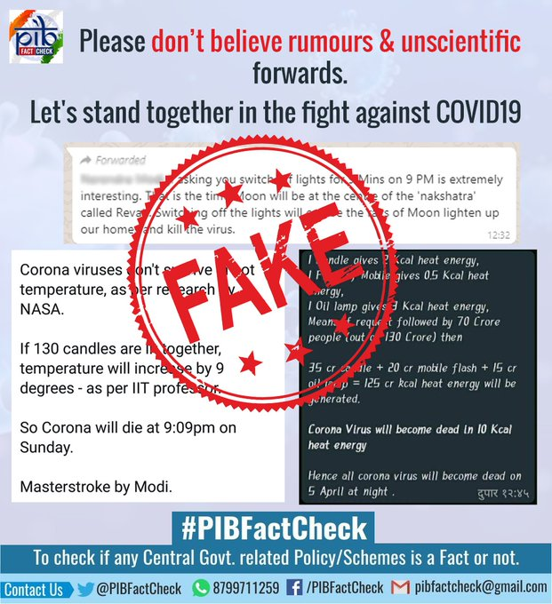 A stamp of word Fake on snips of false message claims circulating related to the appeal of lightning torch/flashlights/diya/candles on 5th of April