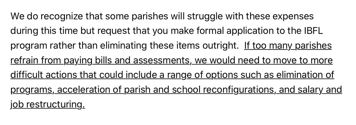 Cupich (Bergoglian leader) announces that parishes and schools that cannot pay their diocesan assessments will be closed - this is of course an indicator that the closure of churches/suspension of Mass will be a long-term situation, part of the overall Bergoglian strategy https://t.co/Xc3J3dJL2O