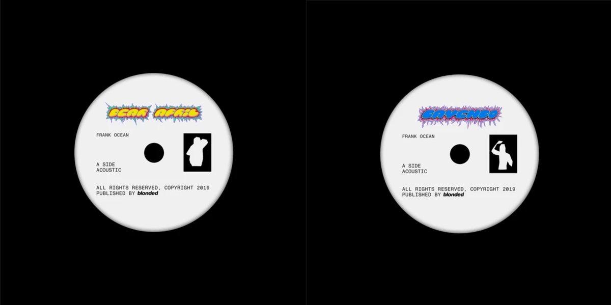 """フランク・オーシャンの新曲""""Dear April""""、""""Cayendo""""がストリーミング・サービスで配信開始。この2曲は2019年10月に7インチが公式サイトで発売され、最近になって購入者に届き始めたとの情報。7インチB面収録のリミックスは配信されていません>>>"""