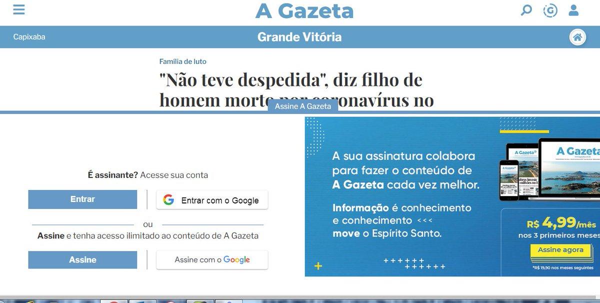 Todo mundo liberando tudo para dar mais informação, mais diversão e contrario a isso tudo o site do @AGazetaES ainda com essa palhaçada! #gazetaonline pic.twitter.com/ryR8glUGtZ