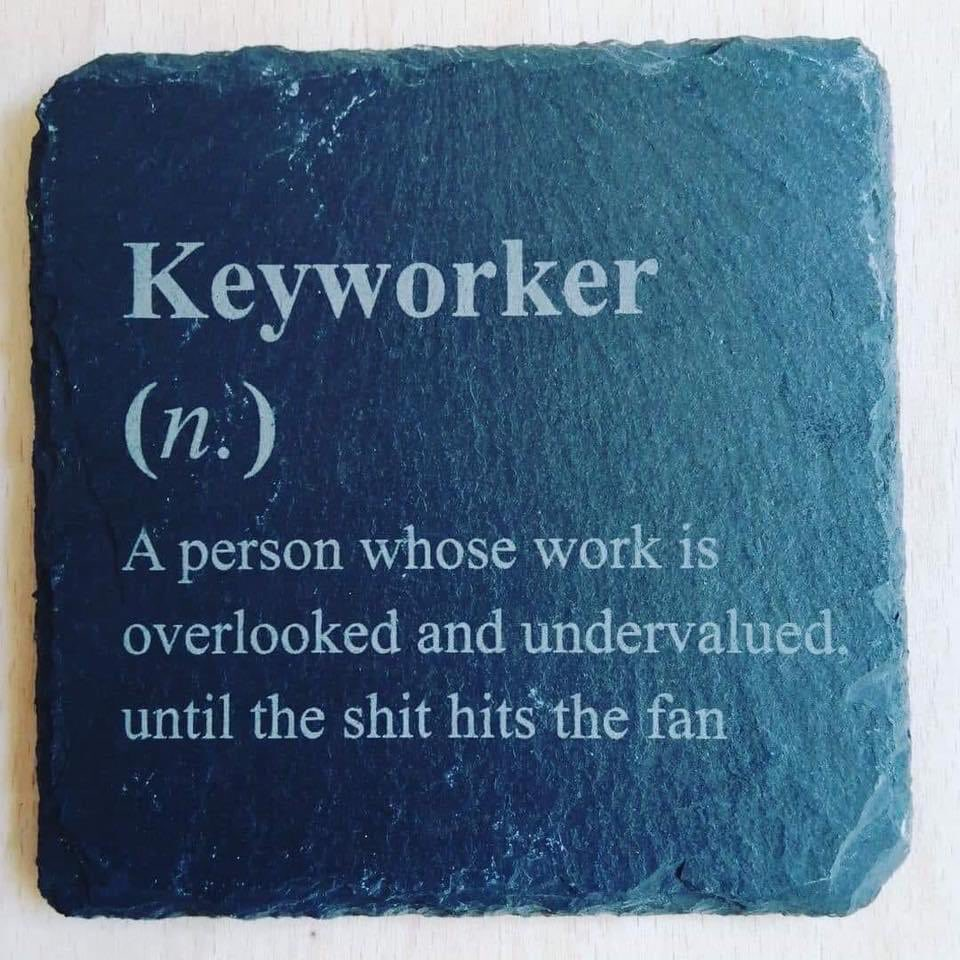 #keyworkers  Now the most important workers in our lives. Let's make a pact to ensure it is our shop, health, care, postal, teaching & all public service workers stay in that esteemed place not celebrities. #NeverAgain <br>http://pic.twitter.com/pBdXATlXUV