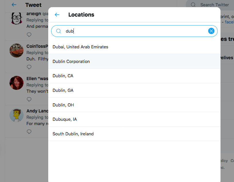 Anyone else noticing that the location options for Dublin, Ireland in @Twitter are now South Dublin or Dublin Corporation? pic.twitter.com/SisocXXQ6r