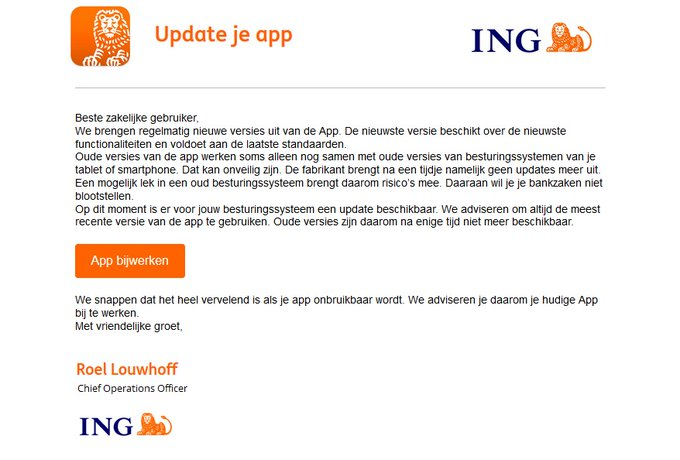 En weer een instinkertje namens ING bank. Niets aanklikken en skippen die mail. https://t.co/XQxRytggn5
