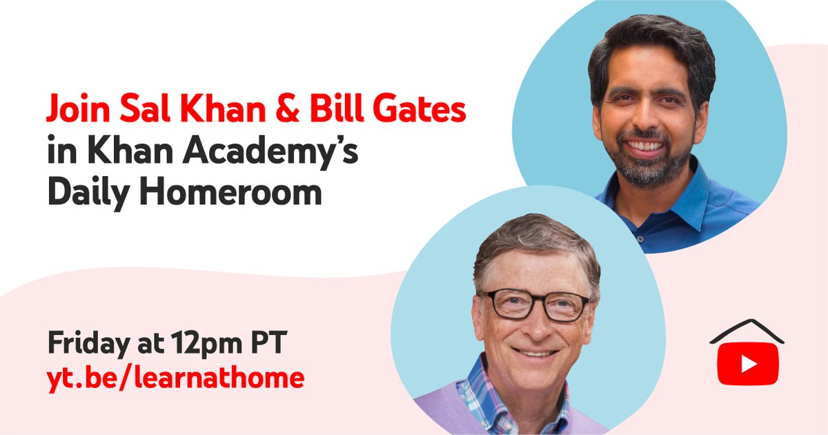 Learn How to Stay Motivated at Home in @KhanAcademy s Daily Homeroom with special guest @BillGates  (yes, you read it correctly, the Bill Gates). Happening now ->  http://yt.be/learnathomelive    #LearnAtHome